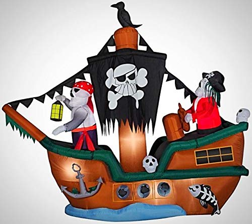 oldzon 10' Animated Airblown Skeleton Pirate Ship Inflatable Yard Decoration with Ebook