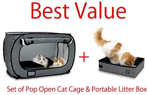 Necoichi-Set-of-Pop-Open-Cat-Cage-and-Portable-Litter-Box