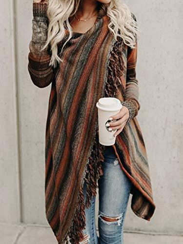 Cappotto Outwear Coat Maglieria Cardigan fashion Manica Giacche Maglione Arancia Simple Elegante Tops Casual Frange Sweater Lunga Donne Patchwork Primavera Autunno Moda Con Pullover Cime q4RqwxB7Y