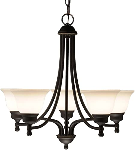 Design Classics Lighting Modern Bronze Hanging Chandelier with Five Lights