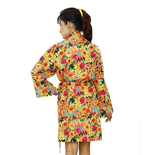 Túnicas kimono de algodón indio cruce del traje de dama regalo Preparándose Multicolor