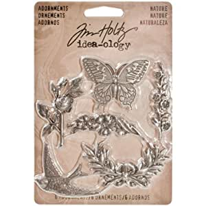 Nature Adornments by Tim Holtz Idea-ology, 6 Charms per Pack, Various Sizes, Antique Nickel Finish, TH93128