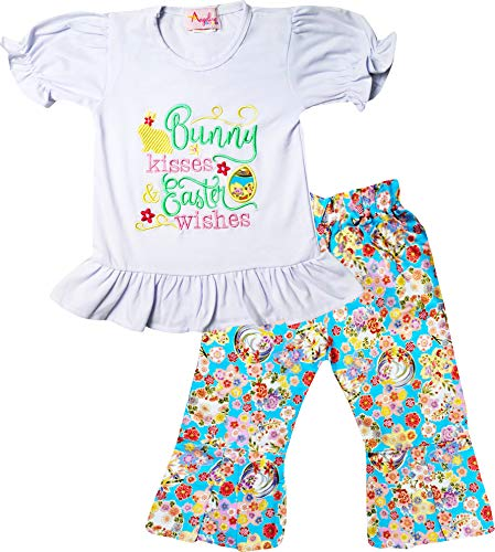 (Boutique Baby Infant Girls Spring Blossom Bunny Kisses Easter Wishes Ruffles Top Pants Set Flower Blossom 6-12M/3XS )
