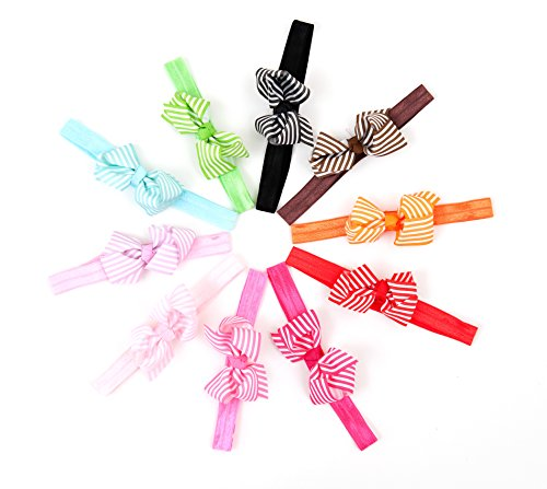 (Ema Jane - Grosgrain Bows (Stripes) on Iridescent Headbands)