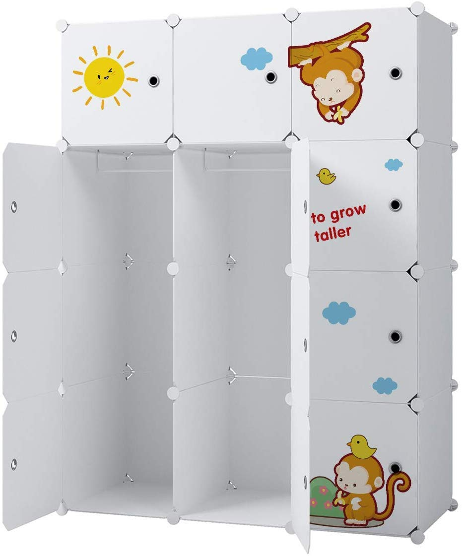 KOUSI Kids Dresser Kids Closet Portable Closet Wardrobe Children Bedroom Armoire Clothes Storage Cube Organizer, White with Cute Animal Door, Safety & Large & Sturdy, 6 Cubes & 2 Hanging Sections by KOUSI