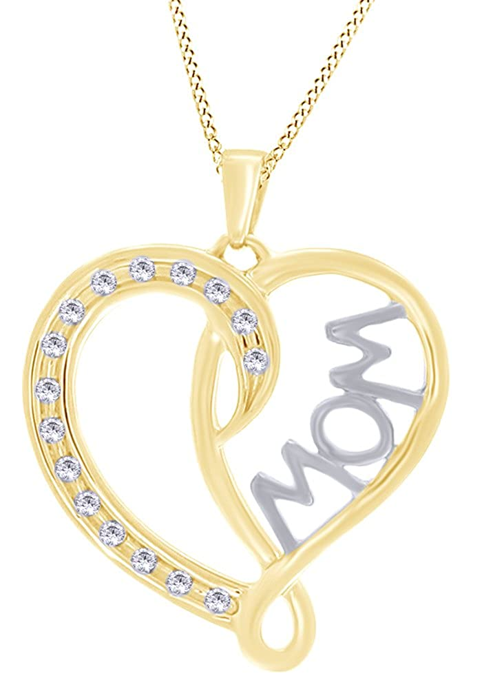 Jewel Zone US 0.12 Ct Round Cubic Zirconia Mom Heart Pendant Necklace in 14K Gold Over Sterling Silver