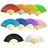 AmBor 10 Packs Multicolor Bamboo Silk Fabric Folding Fan Handheld Fan Folding Fan Folded Fan for Wedding Party DIY Decoration