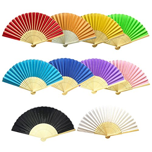 AmBor 10 Packs Multicolor Bamboo Silk Fabric Folding Fan Handheld Fan Folding Fan Folded Fan for Wedding Party DIY Decoration by AmBor