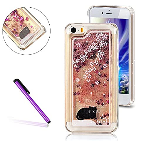 iPhone 5C Case,3D Quicksand Brilliant Luxury Bling Glitter Liquid Floating Angle Girl Moving Hard Protective Case for Apple iPhone 5C(Black Cat, (3d Bling Cases For Iphone 5c)