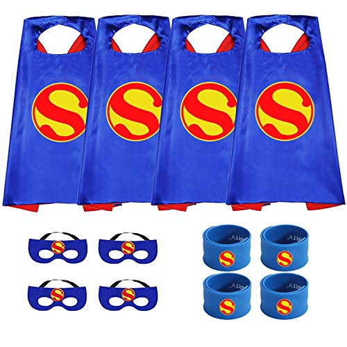 Munfa Superheros Cape and Mask Costumes 4 Set Includes Bonus Matching Wristbands for Kids (Multicolored) (Multicolored) (Boy, Superman) -