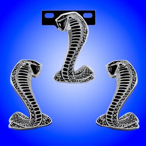 1994-2004 OEM Ford Mustang SVT Cobra Black & Chrome 3pc Front & Fenders Emblem Kit - Grille Snake Faces (Cobra Fender Emblems)