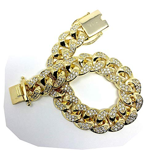 Gold Plated All ICED Out Simulated Diamond Cut Miami Cuban Link Chain Bracelet for Men Real 14MM, 14K Karat Heavy w Solid Thick Clasp US Made 8.5 INCH ()