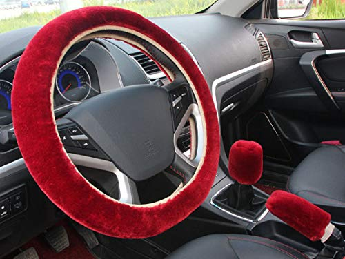 Set Wheel Steering Cover (acdiac 3pcs Plush Car Steering Wheel Covers Winter Faux Wool Hand Brake & Gear Cover Set Car Seat Cover Interior Accessories-38cm (Wine red))