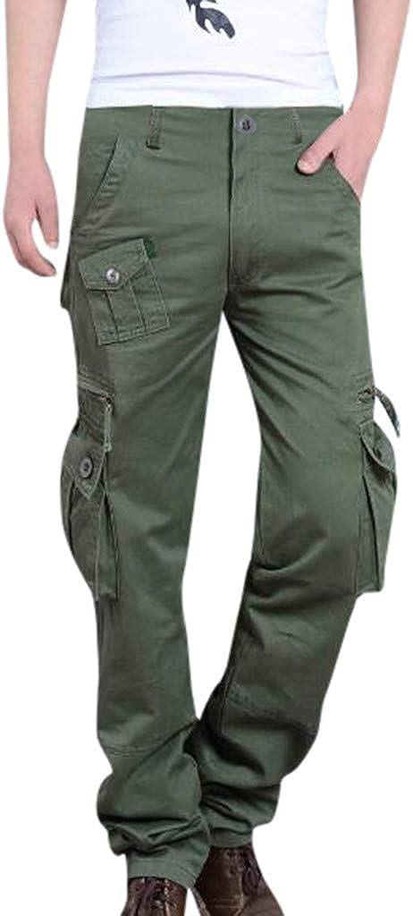 Qmber Herren Cargo Hose Jogging Pants Chino Overall l/ässige Hose mit Mehreren Taschen L/ässige Freizeithose mit Fester Arbeitstasche Lange Hosen mit Mehreren Taschen