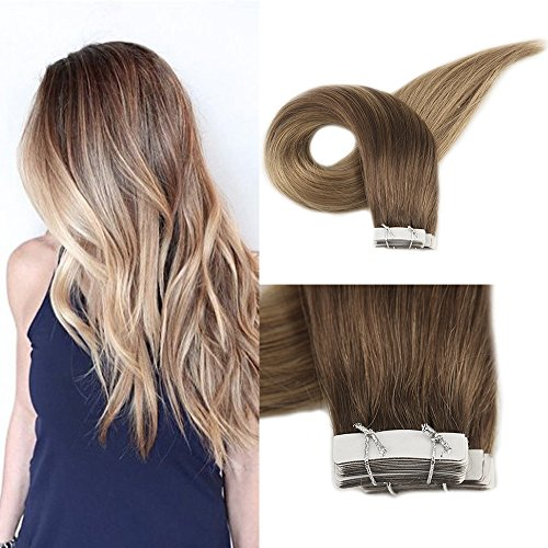 Full Shine 16 Balayage Hair Extensions Tape in Hair Color #10 Light Brown Fading to #14 Golden Blonde Seamless 100% Real Human Hair Highlighted Tape Hair Extensions 50 Grams Per Pack 20 Pieces