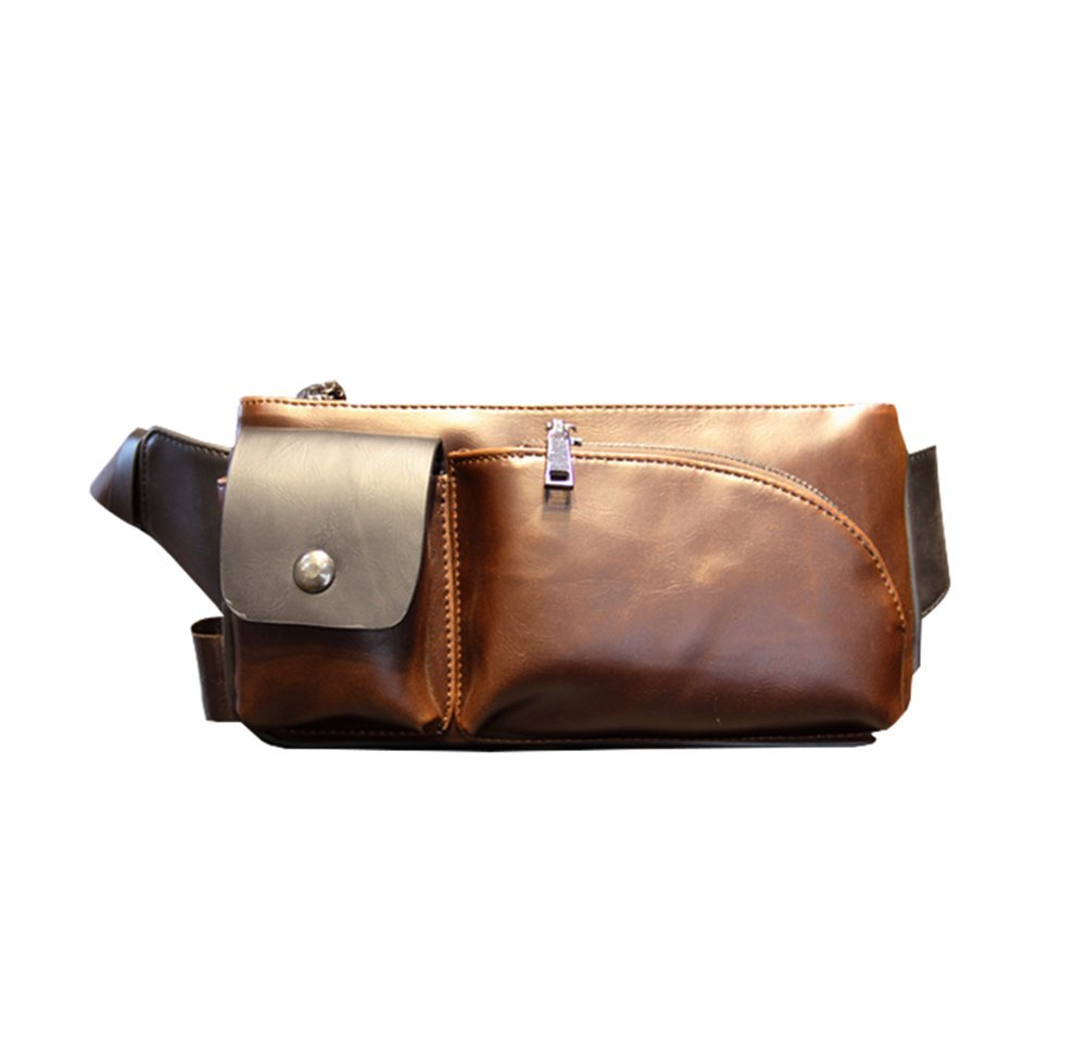 Dreams Mall(TM)Men's Leather Fanny Pack Waistbag Shoulder Chest Bags Wallet Purse,Coffee