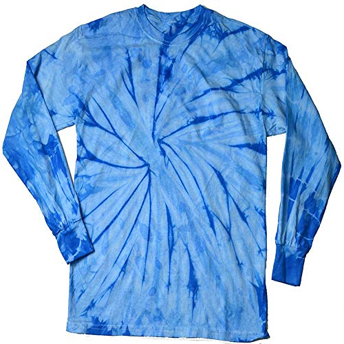 DARESAY Tie Dye Style Long Sleeve T-Shirt, Spider Baby Blue, Medium