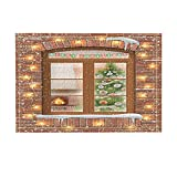 NYMB Xmas Decor, Wooden Window in Snow See Christmas Tree and Fireplace Bath Rugs, Non-Slip Doormat Floor Entryways Indoor Front Door Mat, Kids Bath Mat, 15.7x23.6in, Bathroom Accessories