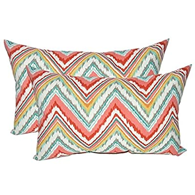 Resort Spa Home Decor Set of 2 - Indoor/Outdoor Jumbo, Large, Over–Sized, Rectangle/Lumbar Chaise Lounge Decorative Throw/Toss Pillows - Bright Colorful Watermelon Chevron Fabric: Home & Kitchen