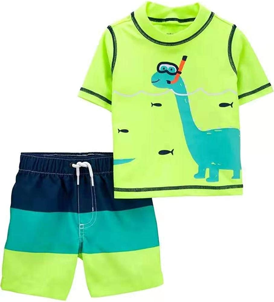 Carter's Baby Boys Rashguard Swim Set (Scuba Dino, 6m)