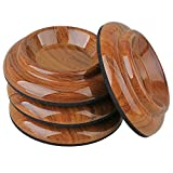 """BQLZR Acrylic Round Antiskid 4.01"""" Double Wheeled Piano Upright Grand Piano Caster Cups Pads Rosewood Color Pack of 4"""