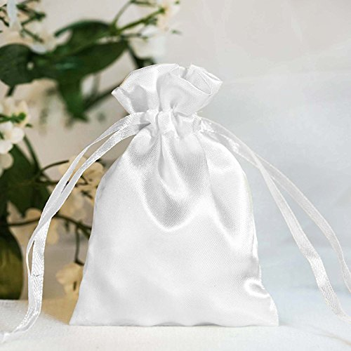BalsaCircle 60 pcs 3x3.5-Inch White Satin Drawstring Bags - Wedding Party Favors Jewelry Pouch Candy Gift (Satin Ribbons Jewellery Pouch)