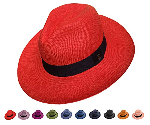 (Original Panama Hat - Classic Fedora - Many Colors - Toquilla Straw - Handmade in Ecuador (Small | 54cm - 55cm, Bright Red))