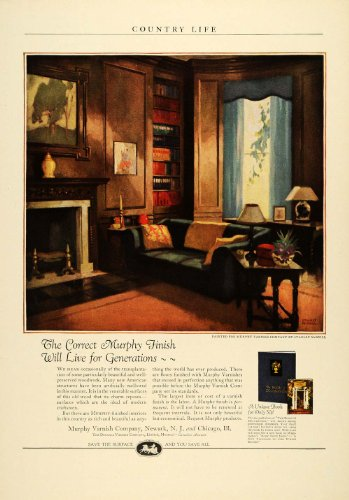 1924 Ad Murphy Varnish Woodwork Furniture Finish Housework Stanley McNeill Art - Original Print Ad - Stanley Entertainment Furniture