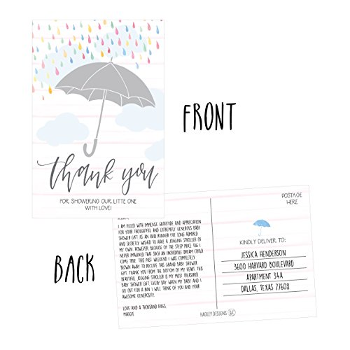 50 4x6 Rain Umbrella Blank Thank You Postcards Bulk, Cute Modern Sprinkle Baby Shower Rainbow Showered With Love Thank You Note Card Stationery For Wedding Bridesmaid Bridal, Religious, Holiday Photo #5