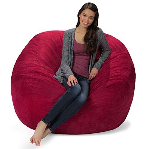 Merlot Bean Bag Chair - Comfy Sacks 5 ft Memory Foam Bean Bag Chair, Merlot Cords