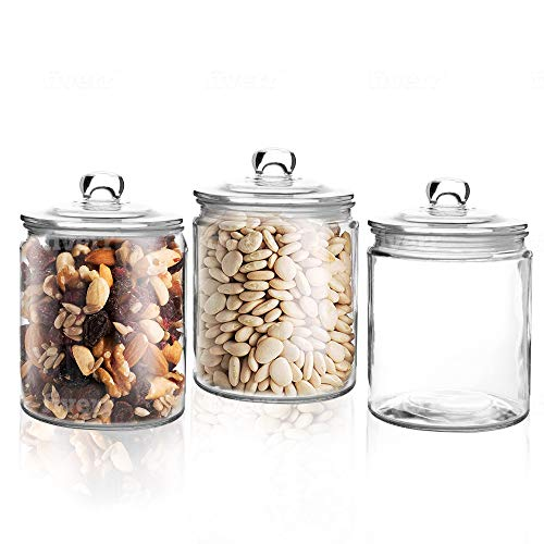 Set Of 3 Glass Jars - 1 Liter Glass Mason Jars With Lids - Clear Canister With Rubber Seal (1 Liter) (Glass Cookie Canister)
