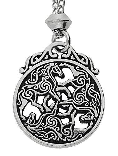 Celtic Knot Divine Horse Triskele Epona Triple Goddess Pewter Pendant ~ 18+4 inch extender Chain