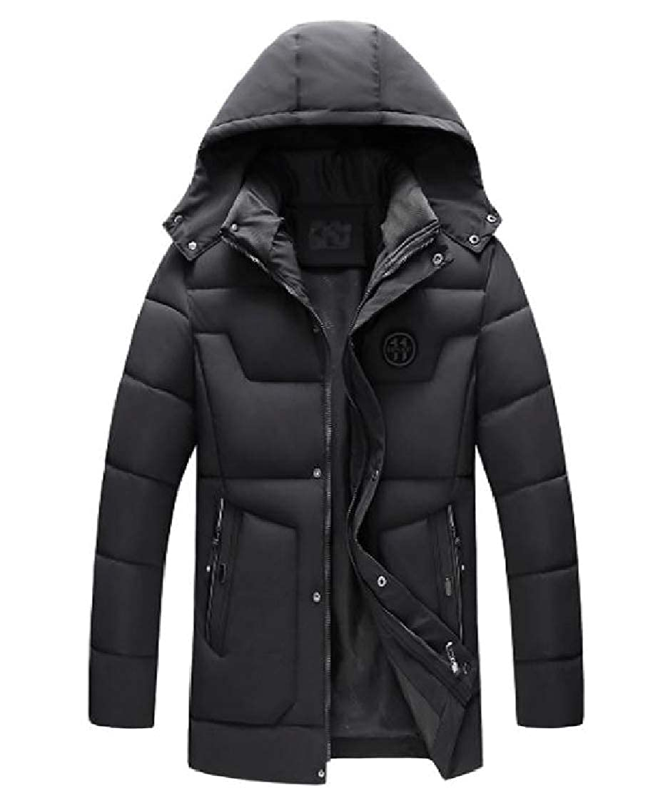 Freely Mens Hooded Mid-Long Regular-Fit Quilted Winter Zip-up Down Coat