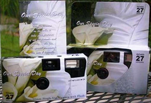 5 Pack Calla Lily Disposable Wedding Film Cameras in Gift Boxes with Table Cardss, 35mm, 27 Exposures