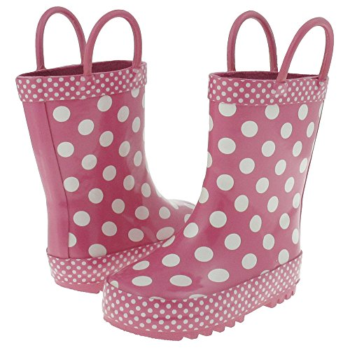 Shiny Large Dots (Capelli New York Shiny Large Dots Printed Rubber Rain Boot Pink Combo 8/9)