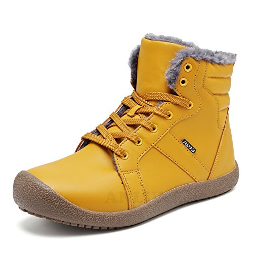 Tan Boots Snowshoes - ANLUKE Men Women Winter Snow Boots High Top Waterproof Outdoor Warm Shoes Fur Lining Yellow 42