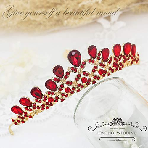 Jovono Wedding Crowns and Tiaras for Bridal Tiara with Red Rhinestone Crown for Women -