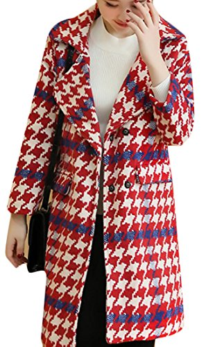 Long Coat Trench M Outwear 1 amp;S Sleeve Womens Houndstooth amp;W wRFgUTqR