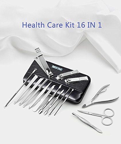 Manicure Pedicure Set Nail Clippers - Mifine 16 In 1 Stainless Steel Professional Pedicure Kit Nail Scissors Grooming Kit with Black Leather Travel Case