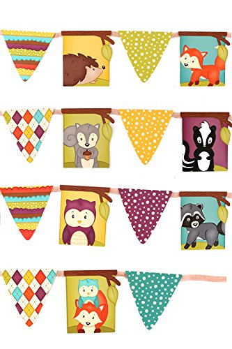 Renewing Minds Woodland Tails Pennant Banner, 12 Feet, Multi-Colored, Two Each of 8 Designs for Total of 16 Flags ()