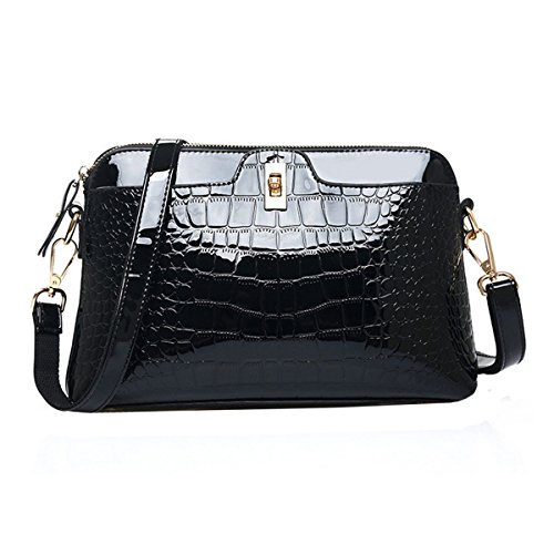 Sherry Handbag Women Fashion Alligator Shoulder Bag Patent Leather Crossbody Bag Tote Purse (Black)