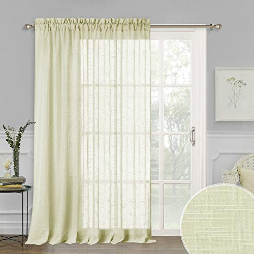 - RYB HOME Extra Wide Linen Sheer Curtains, Privacy Panels Semitransparent with Pole Top Design, Rustic Window Treatments for Farmhouse/Cottage/Garden, Pale Yellow, 100 x 84 inches, 1 Panel