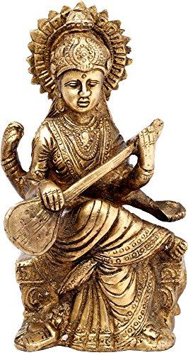 India Figurine Hindu Goddess Saraswati Statue Brass 7 Inches