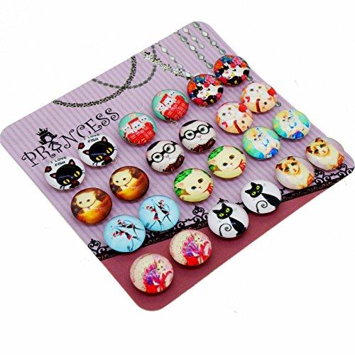 Lovely Carton Cat Glass Dome Magnetic Clip-on Earrings for Teen Girls Kids Women non-pierced Ears]()
