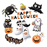 Prettyia Halloween Party Foil Balloons Spider Pumpkin Black Cat Letters Balloons Set Party Supplies