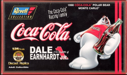 1998 Revell Collection Dale Earnhardt Jr #1 Black Coca Cola Polar Bear Chevy Monte Carlo 1st Head to Head Race With Dale Sr Motegi Japan Limited Edition (Only 2508 Bank Sets Made) diecast collectible Clear Window Bank 1/24 Scale Hood Opens Trunk Opens Comes With Bonus 1/64 Scale Matching Car With Opening Hood (Race Dale Earnhardt First Car)