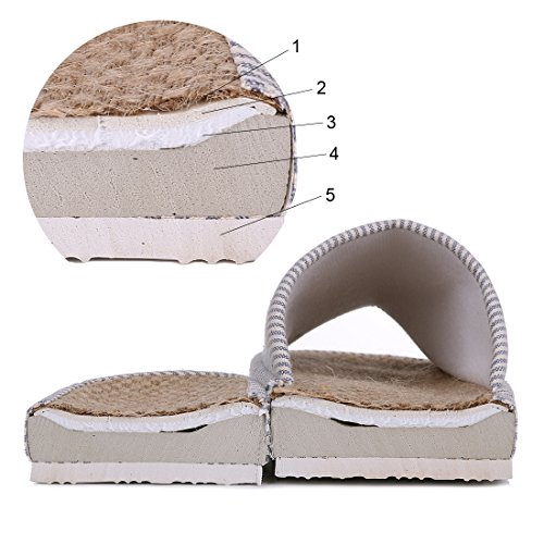 Shevalues Womens Open Toe House Slippers Cotton Flax Tatami Slippers Slip On Arch Support Indoor Slippers Coffee v4iIcq7P