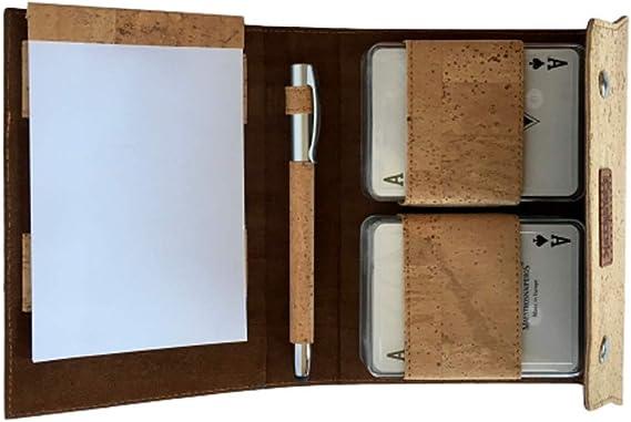Couricork Estuche de Corcho para Cartas y bolígrafo de Corcho portugués con Cartas de póker: Amazon.es: Juguetes y juegos