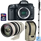 Canon EOS 7D Mark II Digital SLR Camera + Canon EF 28-300mm f/3.5-5.6L IS USM Lens With Tripod Collar + Full Size Monopod + Transcend 32GB SDHC Memory Card + CS Microfiber Cleaning Cloth