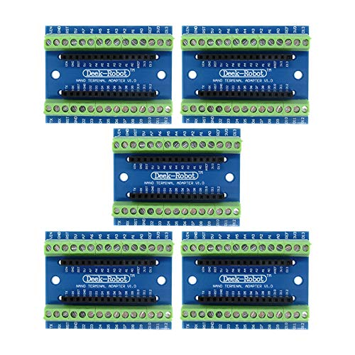 Aideepen 5pcs Nano Screw Terminal Adapter Shield Expansion Board Nano V3.0 AVR ATMEGA328P-AU Module for Arduino